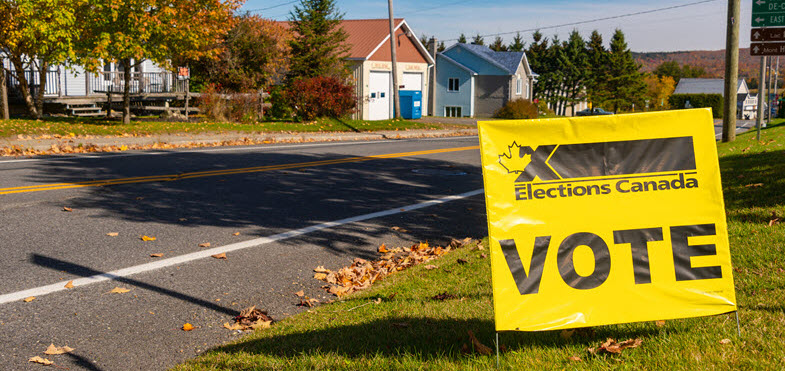 A yellow sign with the word vote and the Elections Canada logo is posted on a patch of lawn in front of an empty street in a rural neighbourhood