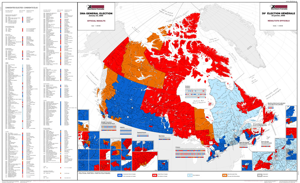 Elections Canada Map Map of official results for the 39th general election (2006