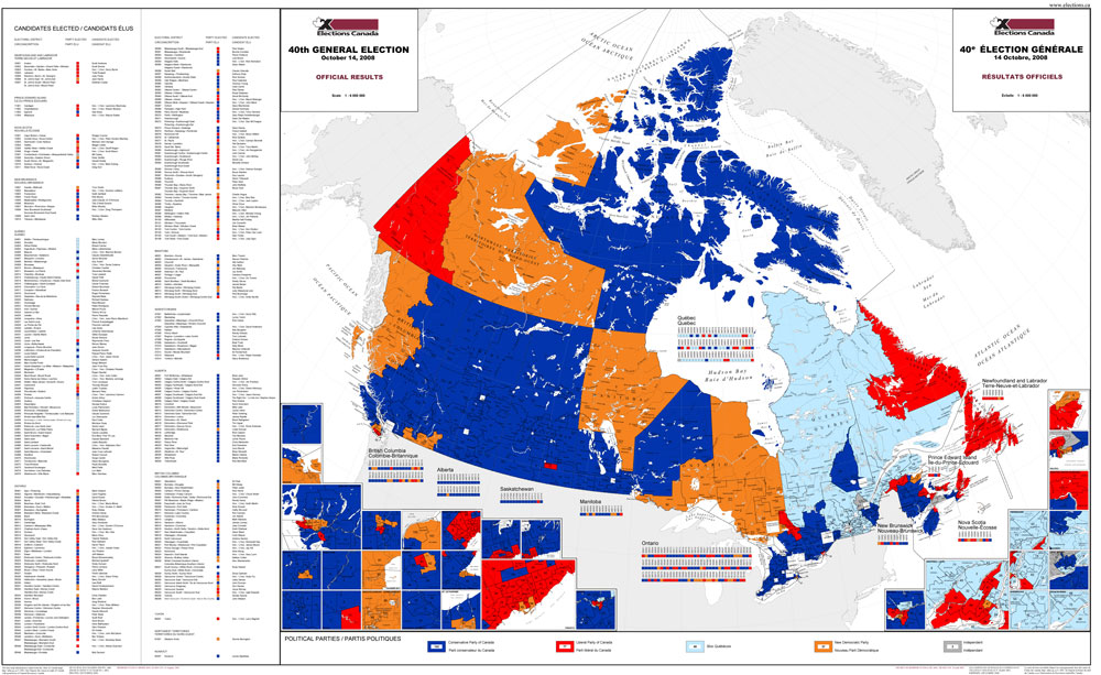 Canada Election 2008 Map Map of official results for the 40th general election (2008