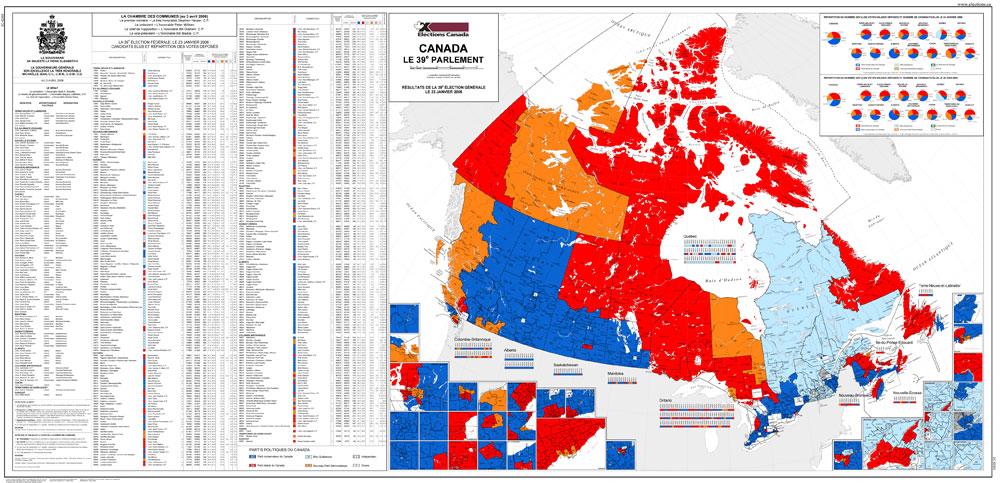 Carte Historique Canada.Carte Du Canada Le 39e Parlement 2006 Elections Canada