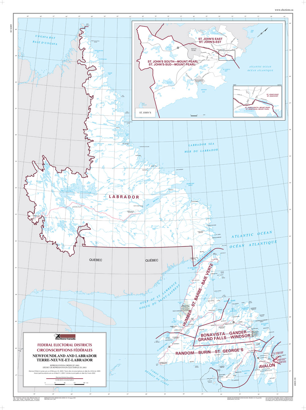 Picture of: Map Of Newfoundland And Labrador Elections Canada Online