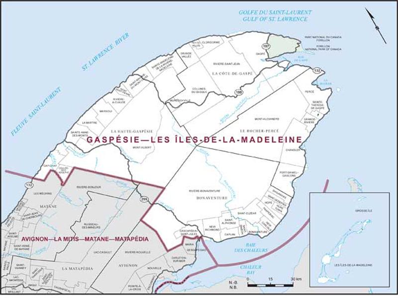 Iles De La Madeleine Map Gaspésie–Les Îles de la Madeleine | Maps Corner | Elections Canada  Iles De La Madeleine Map