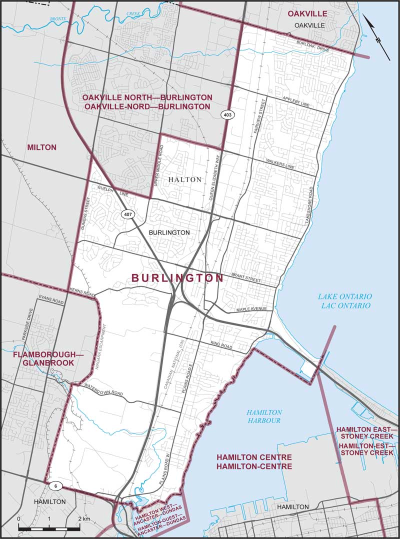Map Of Burlington Burlington | Maps Corner | Elections Canada Online