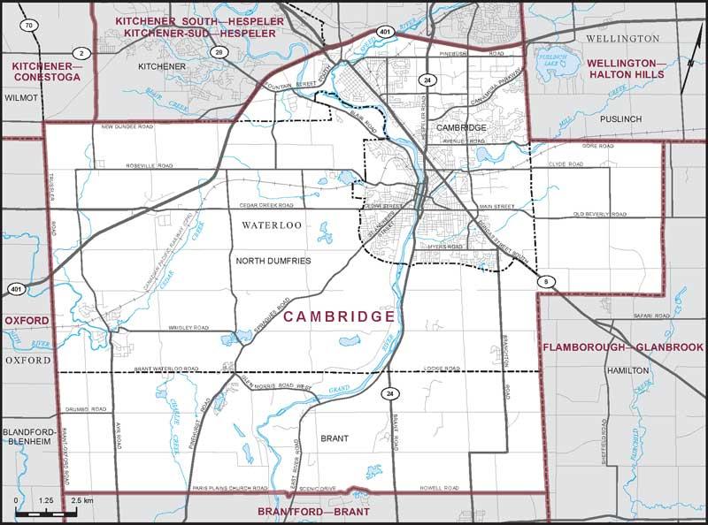 Cambridge Ontario Map Cambridge | Maps Corner | Elections Canada Online