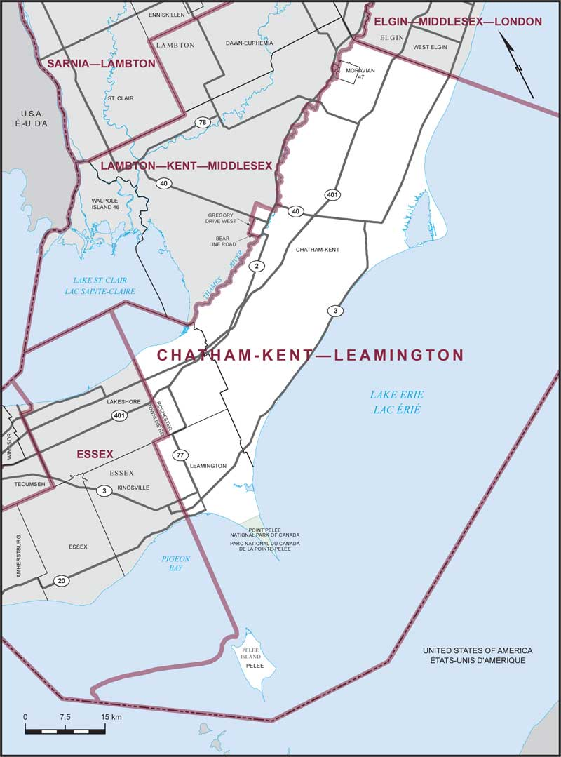 Map Of Chatham Ontario Chatham Kent–Leamington | Maps Corner | Elections Canada Online