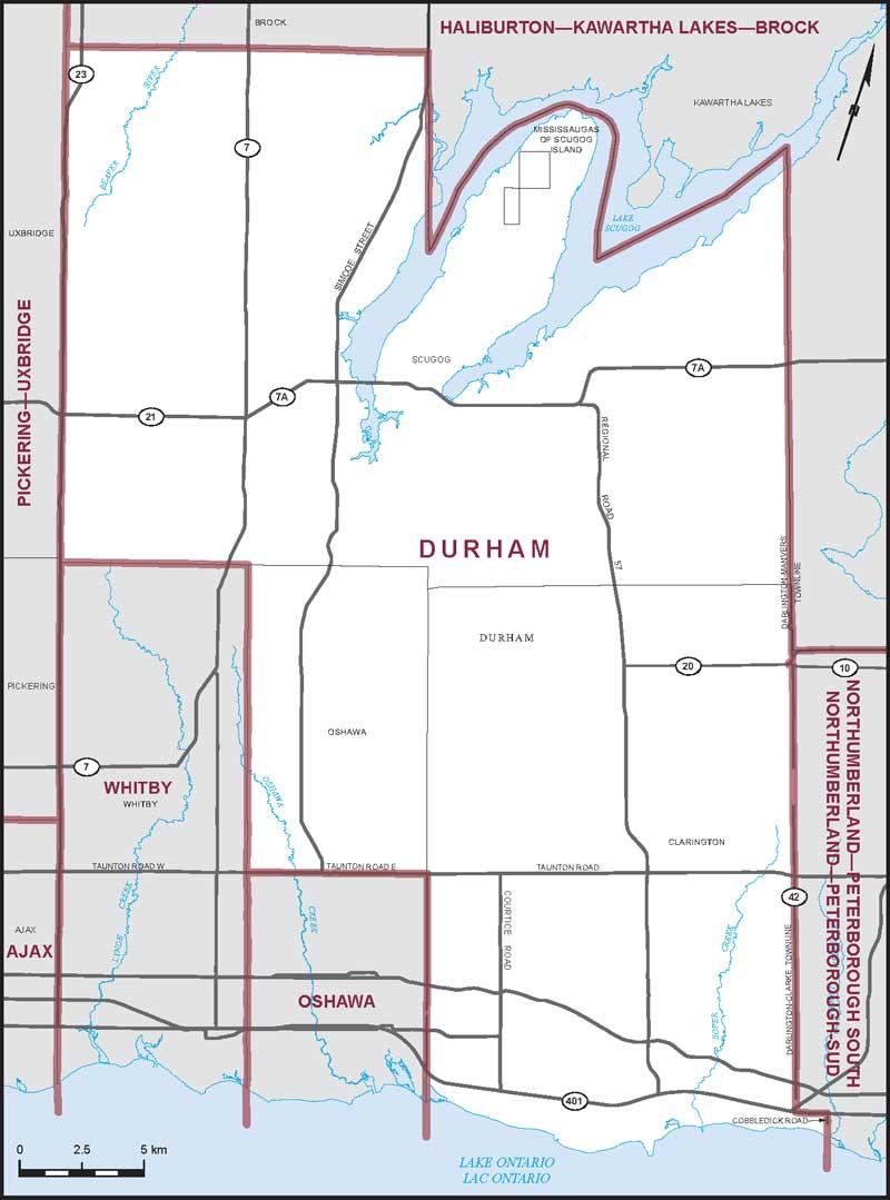 Durham Ontario Map Durham | Maps Corner | Elections Canada Online