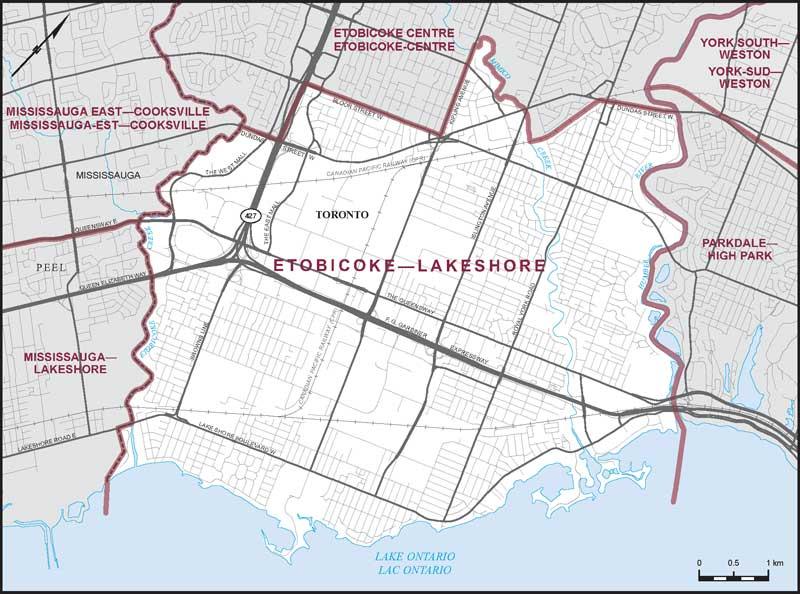 Map Of Etobicoke Etobicoke–Lakeshore | Maps Corner | Elections Canada Online
