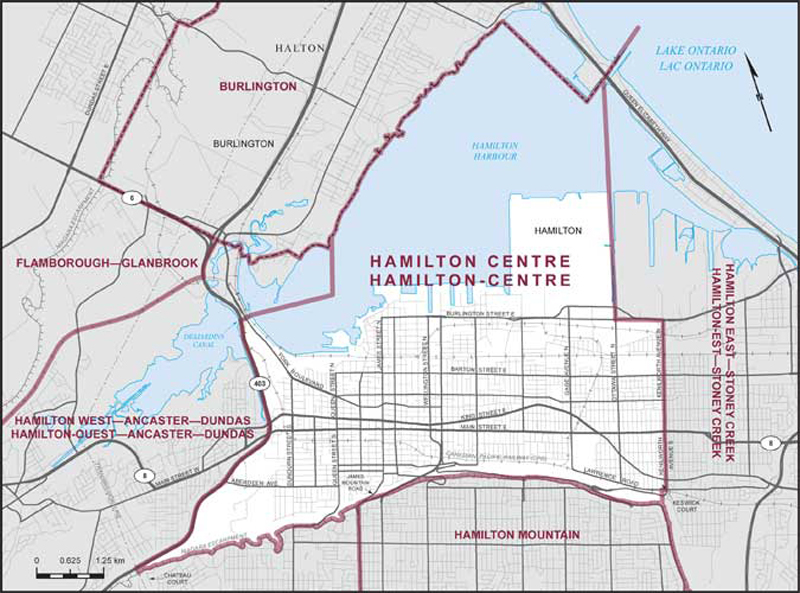 Hamilton Canada Map Hamilton Centre | Maps Corner | Elections Canada Online