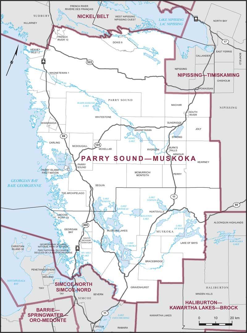 Parry Sound Map Parry Sound–Muskoka | Maps Corner | Elections Canada Online Parry Sound Map