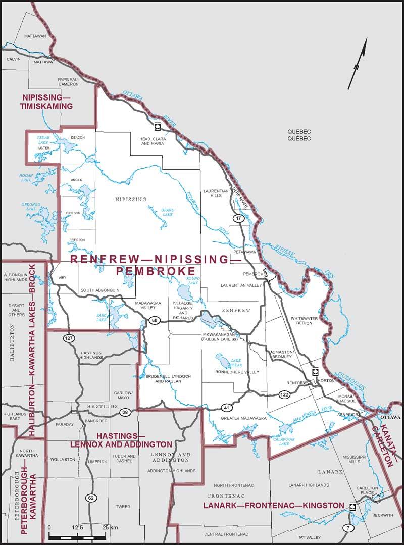 Map Of Pembroke Ontario Canada Renfrew–Nipissing–Pembroke | Maps Corner | Elections Canada Online