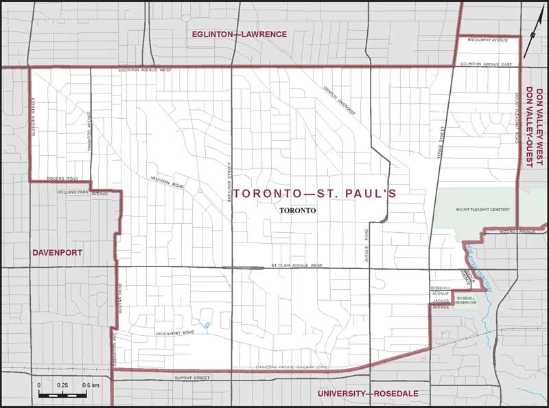 Toronto–St. Paul's | Maps Corner | Elections Canada Online on brampton canada map, cn tower canada map, victoria park canada map, richmond hill canada map, etobicoke canada map, markham canada map, highway 93 canada map, highway 1 canada map, ontario canada map, toronto canada map, vaughan canada map, edmonton canada map,