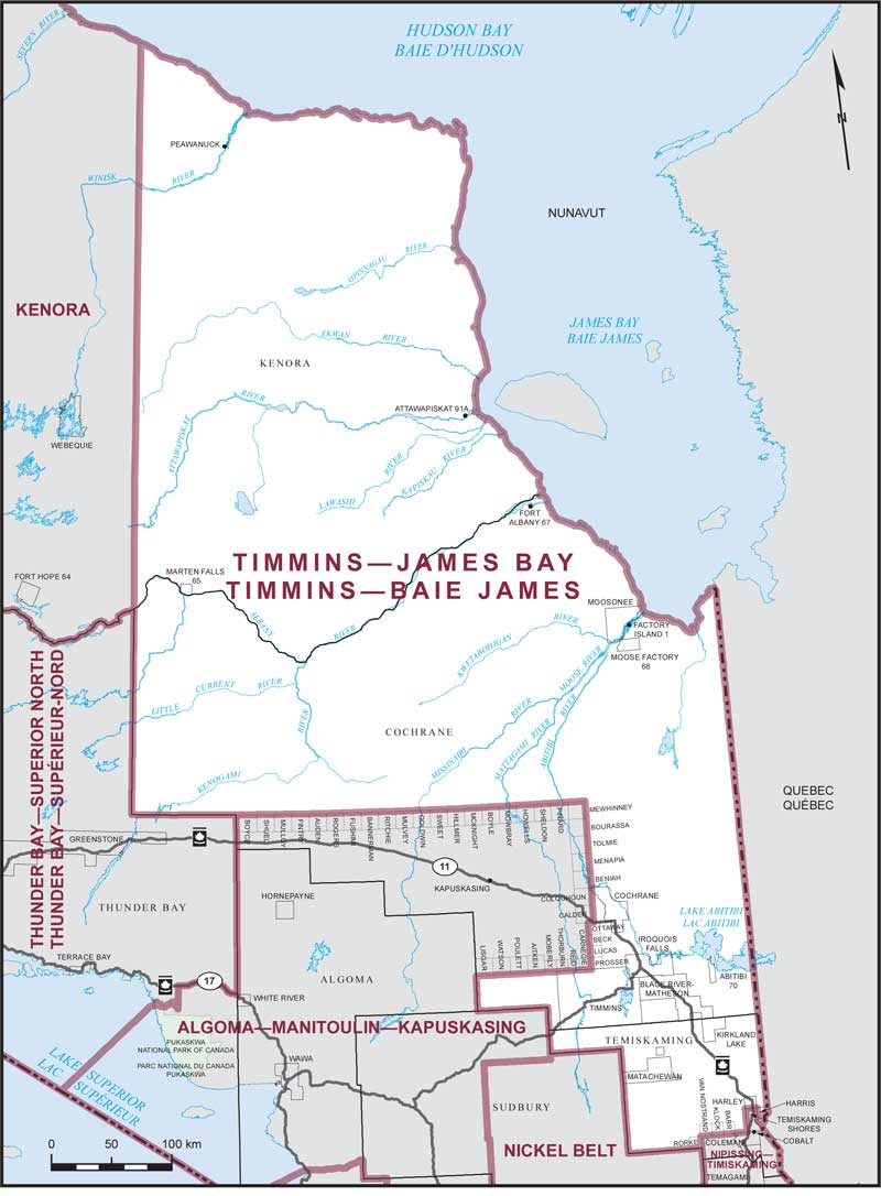 Map Of Canada James Bay.Timmins James Bay Maps Corner Elections Canada Online
