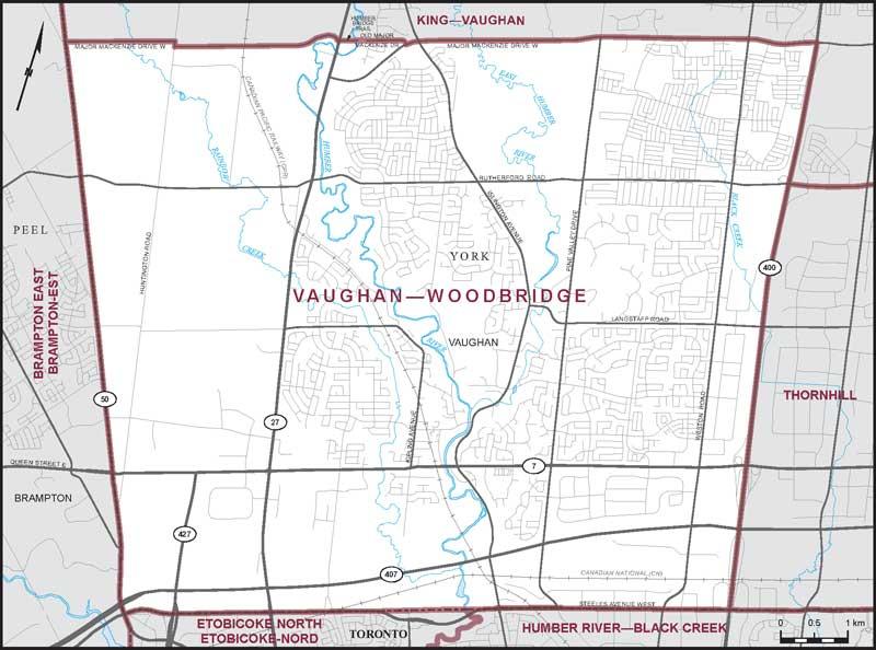 Map Of Woodbridge Ontario Canada Vaughan–Woodbridge | Maps Corner | Elections Canada Online
