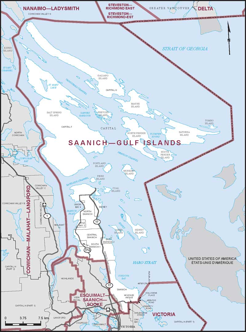 Islands Of Canada Map.Saanich Gulf Islands Maps Corner Elections Canada Online