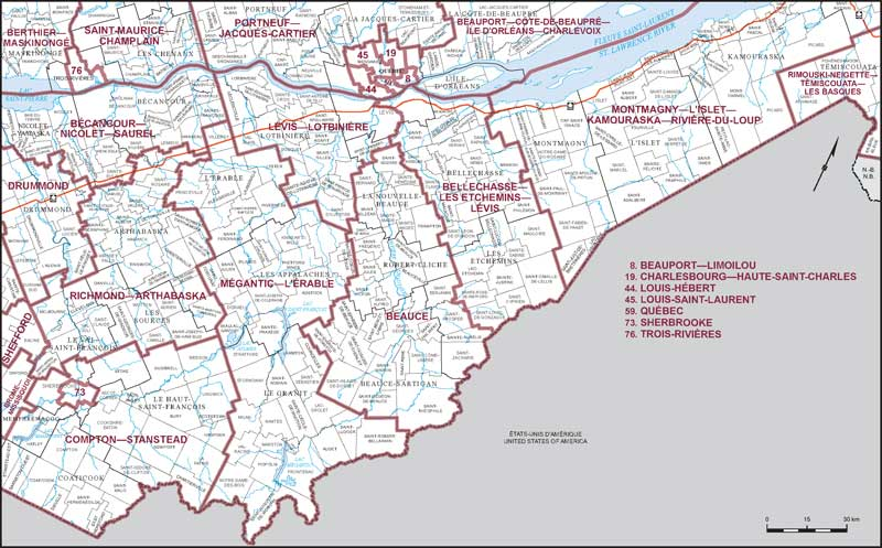 Map Of Southeast Canada.Southeastern Quebec Map 3 Maps Corner Elections Canada Online