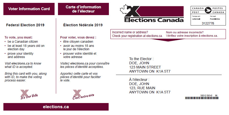 Voter information card