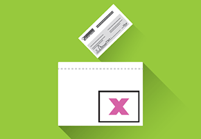 illustration of the deposit of the enveloppe in a ballot box