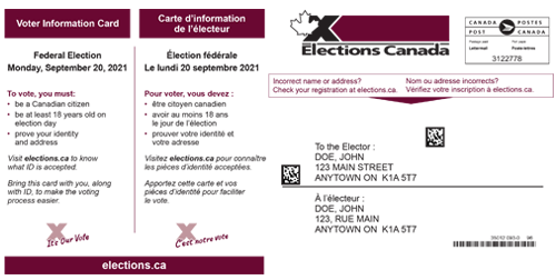 Front of the Voter information card