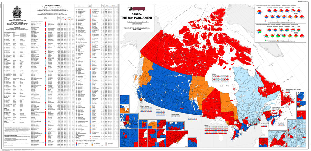 Map of Canada The 38th Parliament 2004  Elections Canada Online