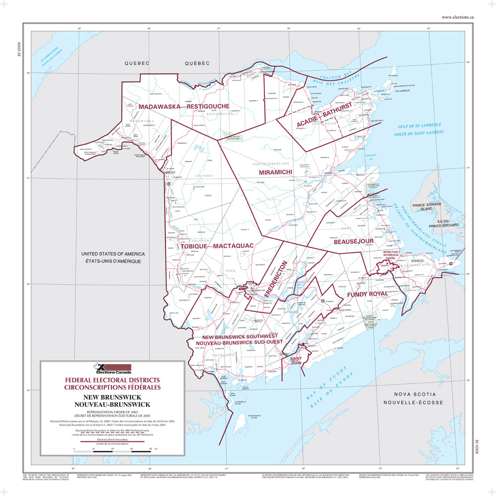Map of New Brunswick Elections Canada Online