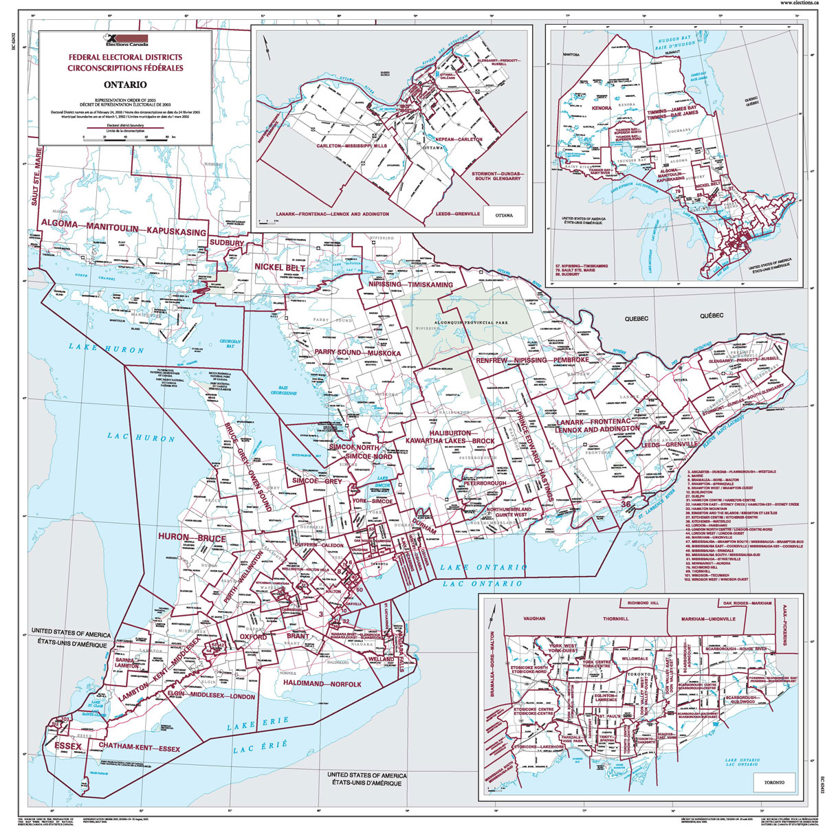 Map Of Ontario Elections Canada Online