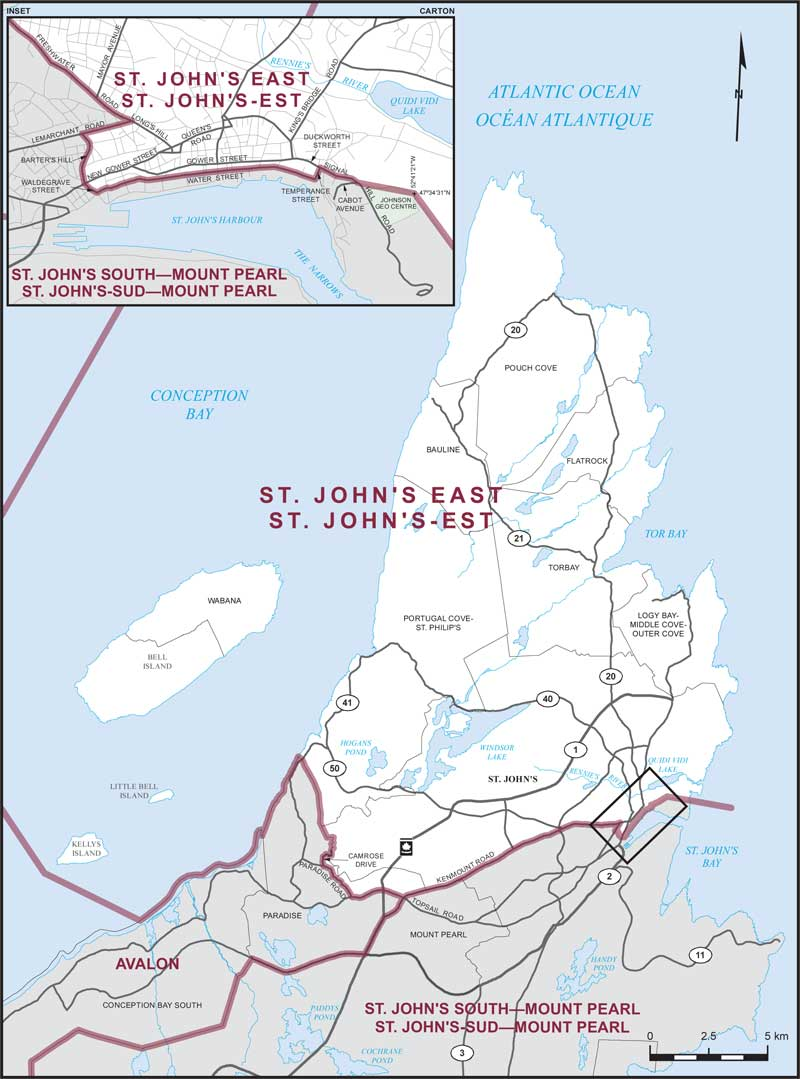 St Johns East Maps Corner Elections Canada Online - Portugal cove nl map