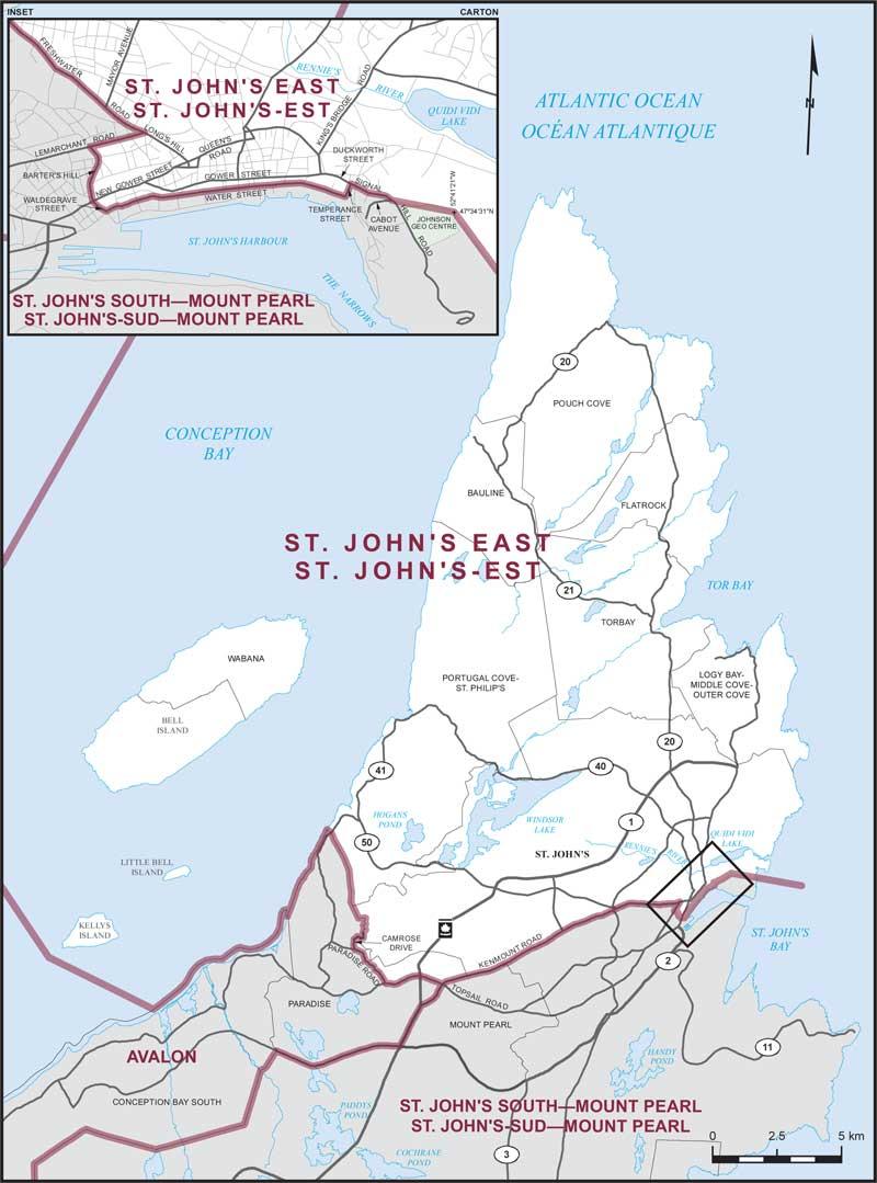 map st johns east newfoundland and labrador