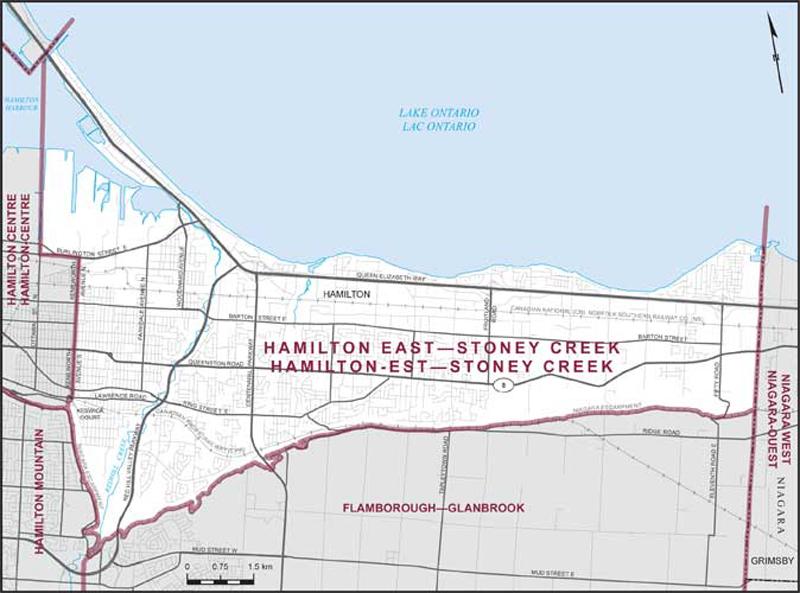 Hamilton Ontario Canada Map.Hamilton East Stoney Creek Maps Corner Elections Canada Online