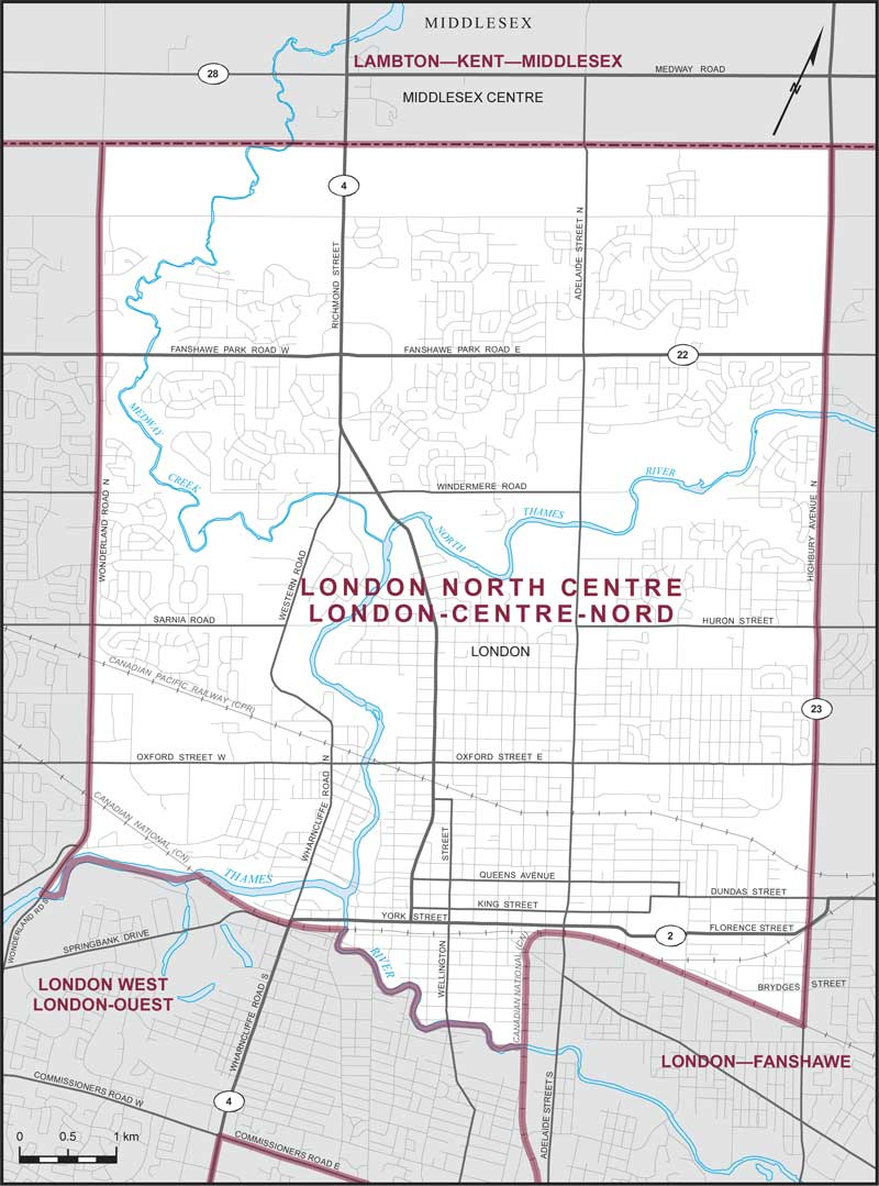 Centre London Map.London North Centre Maps Corner Elections Canada Online