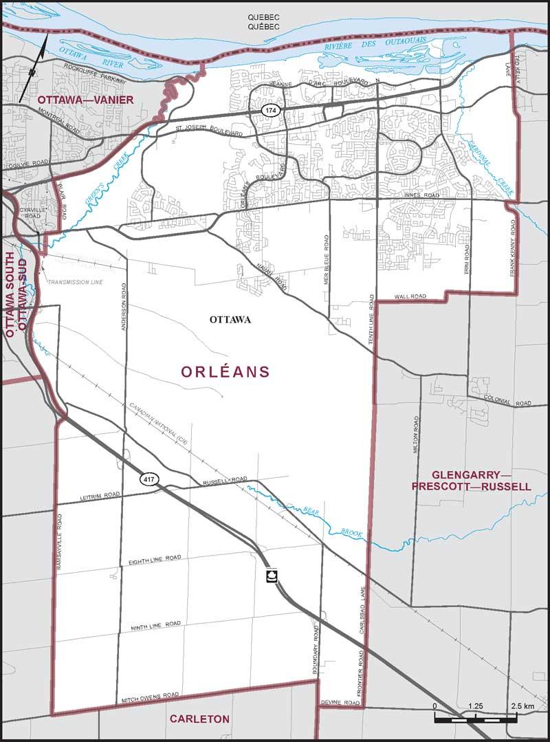 Map – Ottawa–Orléans, Ontario