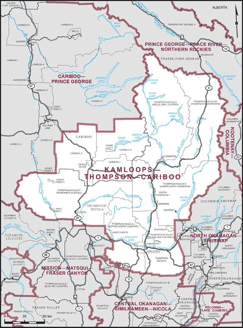 Map Of Canada Showing Kamloops.Kamloops Thompson Cariboo Maps Corner Elections Canada Online
