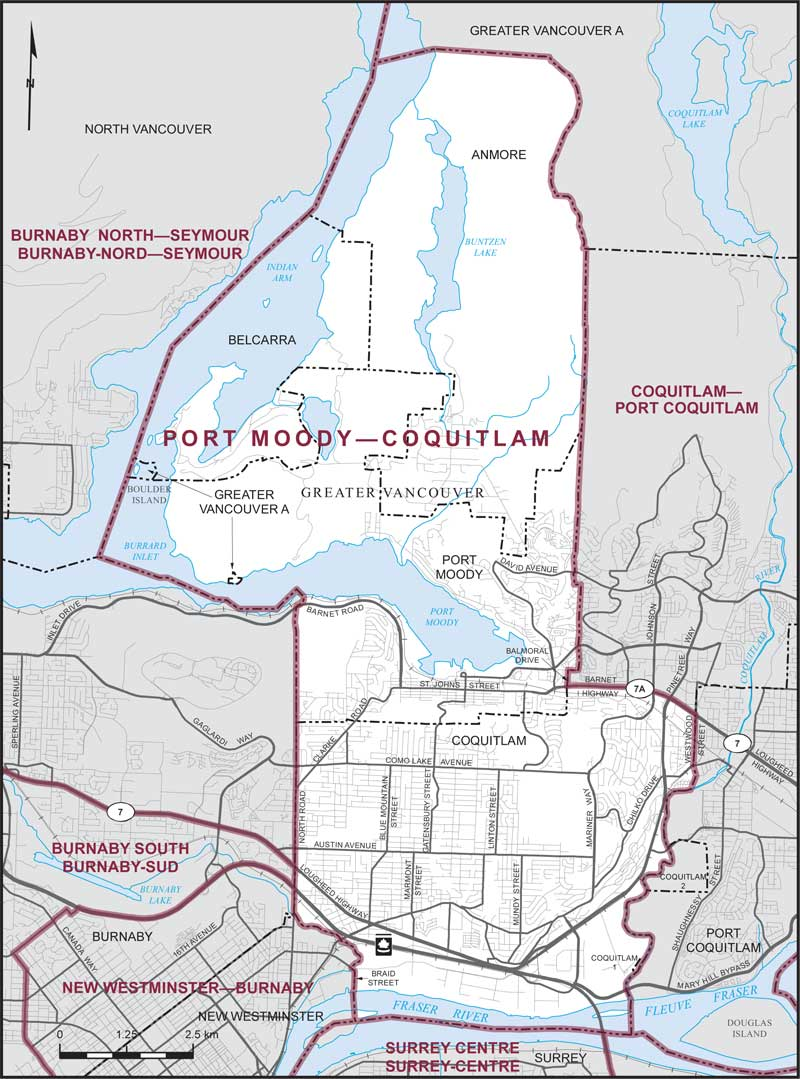 Port Moody-Coquitlam Riding Boundary
