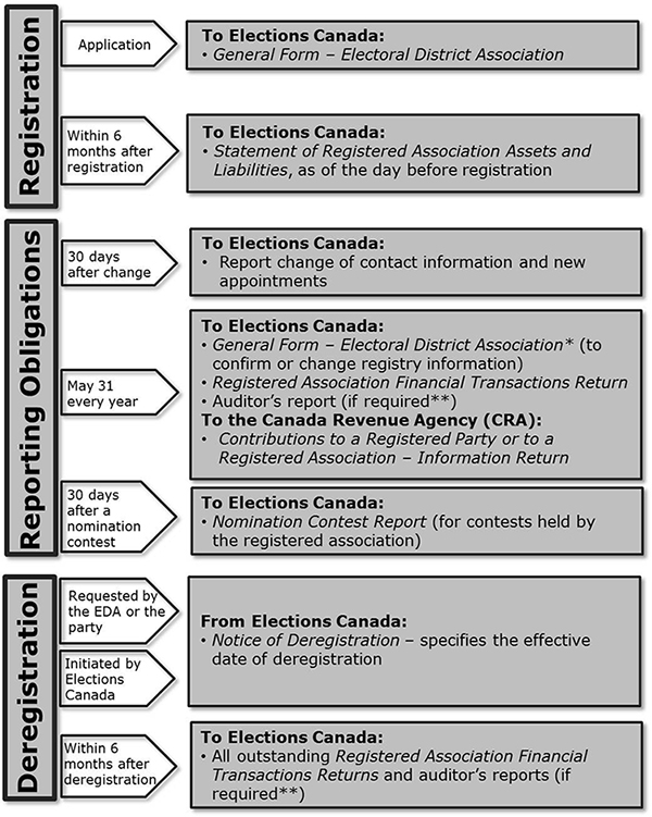Reporting requirements for registered electoral district associations