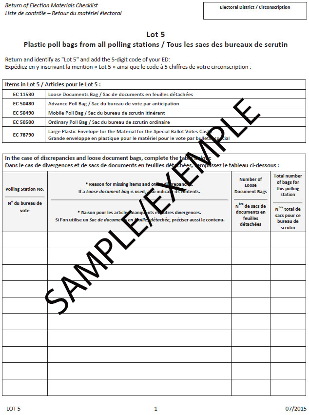 Sample – Return of Election Materials Checklist
