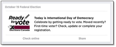 Facebook message posted on the International Day of Democracy.
