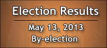 Live Election Results tonight - May 13, 2013 By-election